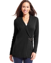 NWT 2X DEEP BLACK Charter Club Sweater Shawl-Collar Buckle Cardigan - $50.00