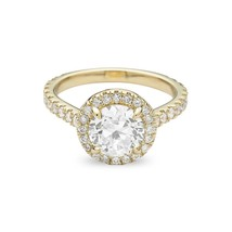 2.50CT Forever One Moissanite Halo VSF Engagement Ring 14K Yellow Gold  - $1,587.75