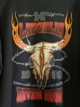 1996 LAUGHLIN RIVER RUN Black MOTORCYCLE T Shirt Large Short Sleeve Cotton - $14.84
