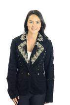 M/EU 38 Nicola Berti Black Cotton Blazer Ivory Embroidered Metal Eyelet ... - $41.23