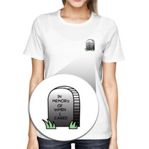 In Memory Of When I Cared Pocket T-shirt Halloween Tee Ladies Shirt - $14.99+