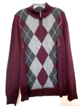 Tasso Elba Large  Gray Burgandy Diamond Pattern Zip Hipster Pullover Swe... - $11.72