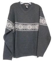 Eddie Bauer Size M Gray Beige Pattern Vee  Neck Pullover Long Sleeve Swe... - $13.97