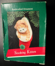 Hallmark Keepsake Christmas Ornament 1989 Stocking Kitten Handcrafted Boxed - $5.99