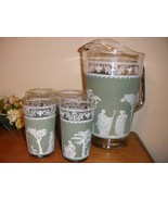 Pitcher and glass set green and white, grecian pattern, vintage - $40.00