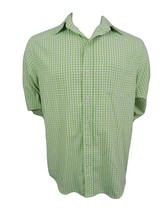 Caribbean Joe Shirt Size M Long Sleeve Button Front Green & White Plaid  - $12.82
