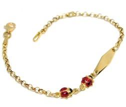 BRACELET YELLOW GOLD 18K 750, FOR GIRL, LADYBUGS GLAZED TILES, PLATE INC... - $330.45