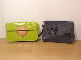 Lot of 2 Ladies Handbags Purse Zip Pouch Shoulder Bag Green and Gray by MAD