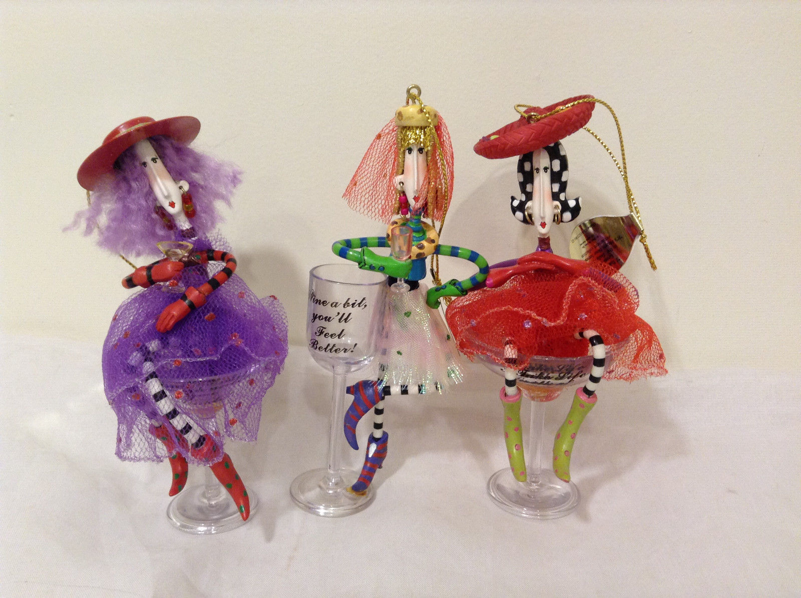 Ashton Drake Galleries Drinking Buddies Happy Hour Ornament Collection Set of 3
