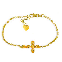 14K Yellow Gold Bracelet w Genuine Gemstone Citrine November Birthstone - $405.00