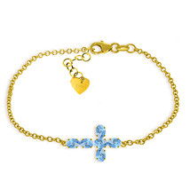 14K Yellow Gold Bracelet w Genuine Gemstone 1.7ct Blue Topaz December Bi... - $405.00