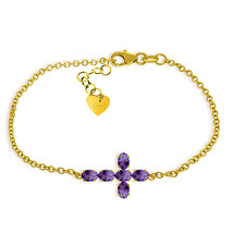 14K Yellow Gold Bracelet w Genuine Gemstone Purple Amethyst Febriary Bir... - $405.00