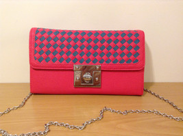 NWT Pink with blue Ladies Handbag Purse Shoulder Bag or Wallet by MAD