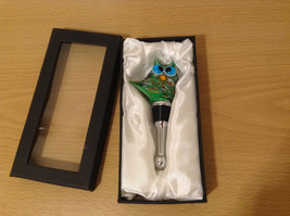 Handmade Mr. Owl Green Glass Bottle Stopper in a gift box