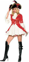 Lady Pirate Captain Hook Costume Overcoat Dress Red Size Small - $69.99