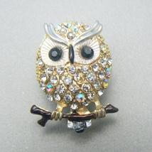 Tiny Owl Rhinestone Pin Brooch - $7.95