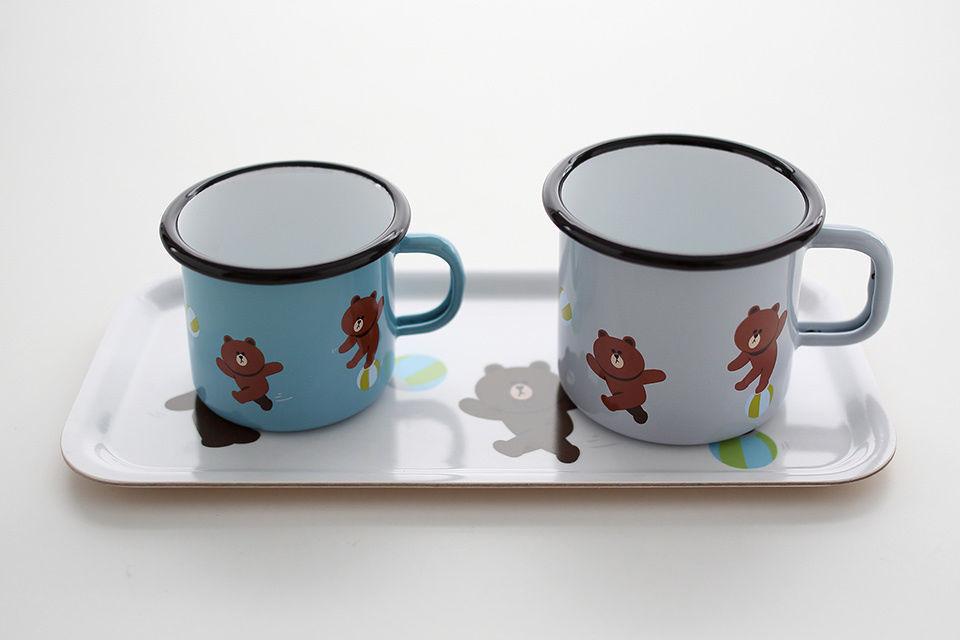LINE Friends x Muurla Play Ball BROWN Enamel Mug Cup 370ml Character Home Gift