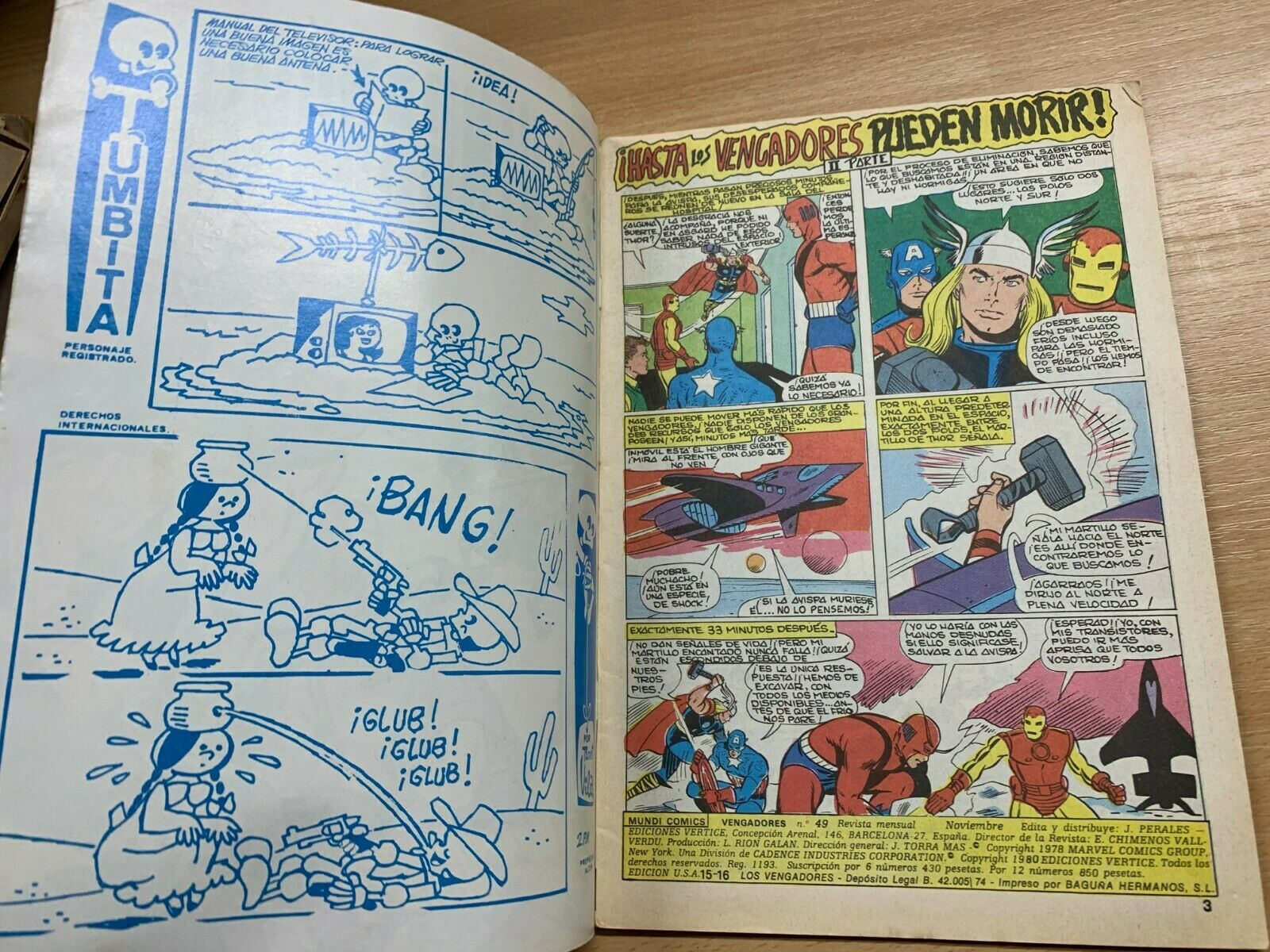 MUNDI/MARVEL COMICS - LOS VENGADORES #49 (NOV 1980) VFN SPANISH AVENGERS