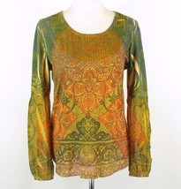 ONE WORLD Size M Chiffon Insets Bishop Sleeve Kit Top - $13.99
