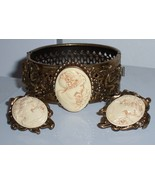 Vintage Carved Cameo Cuff Bracelet & Earrings Set / Nice!  - $34.99