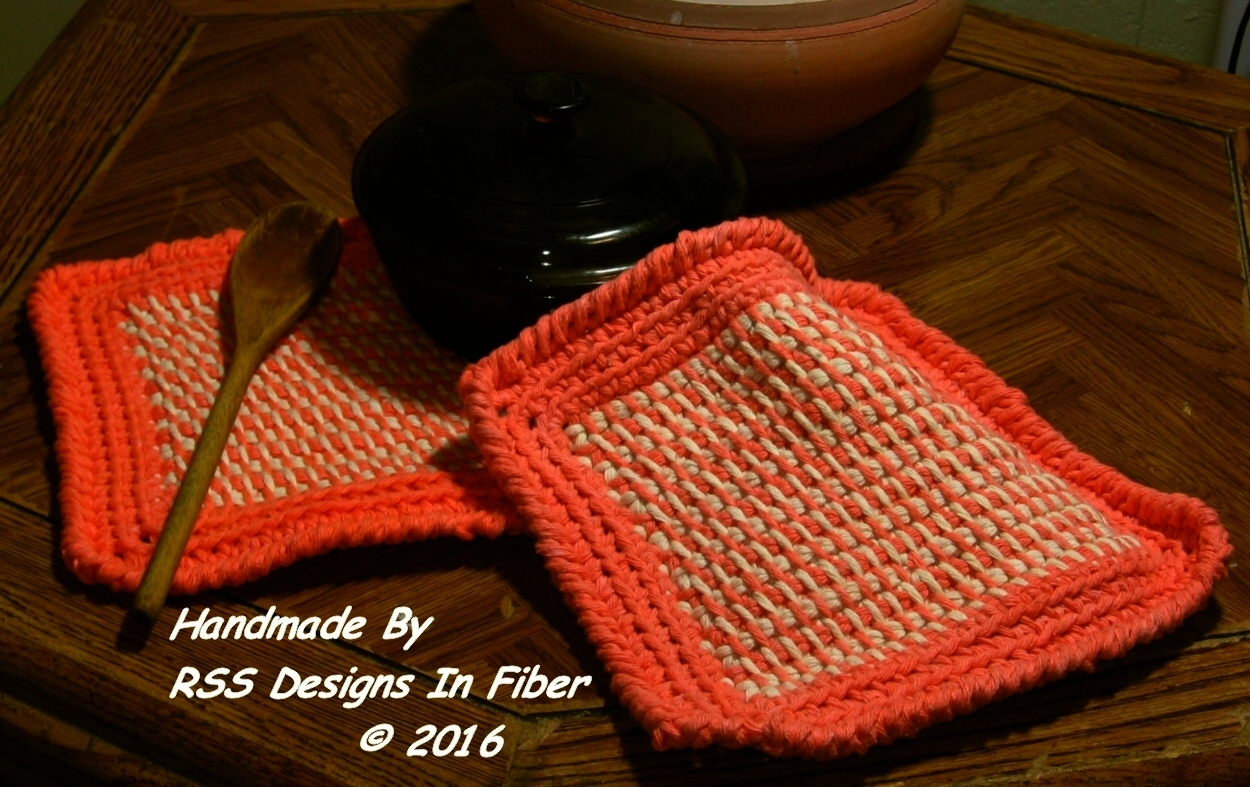 Orange and Cream Tweed Potholders or Hotpads - Art Decor by RSS Designs In Fiber