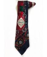 Tabasco Sauce Bottle Chili Hot Peppers Vintage Novelty Tie Necktie - $15.83
