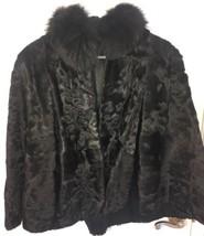 Women's Fur Coat Medium Swing Stole Cape Capelet Black Shrug - $222.74