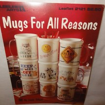 Mugs for all Reasons Cross Stitch Leaflet 2121 Leisure Arts 1991 Lion Cow Dog - $9.99