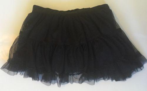 Sparkly Black Flounce Tutu Mini Skirt XS S Eighties Costume Party Elastic Waist