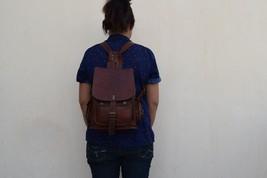 """11"""" High Handmade Real Brown Leather Backpack Shoulder Bag Rucksack Hiking Bag image 3"""