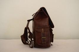 """11"""" High Handmade Real Brown Leather Backpack Shoulder Bag Rucksack Hiking Bag image 7"""