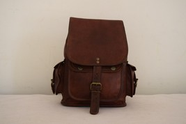 """11"""" High Handmade Real Brown Leather Backpack Shoulder Bag Rucksack Hiking Bag image 4"""