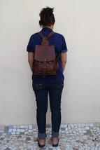 """11"""" High Handmade Real Brown Leather Backpack Shoulder Bag Rucksack Hiking Bag image 2"""