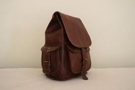 """11"""" High Handmade Real Brown Leather Backpack Shoulder Bag Rucksack Hiking Bag image 6"""