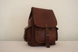 """11"""" High Handmade Real Brown Leather Backpack Shoulder Bag Rucksack Hiking Bag image 5"""