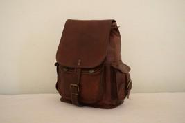 """11"""" High Handmade Real Brown Leather Backpack Shoulder Bag Rucksack Hiking Bag image 10"""
