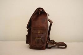 """11"""" High Handmade Real Brown Leather Backpack Shoulder Bag Rucksack Hiking Bag image 9"""