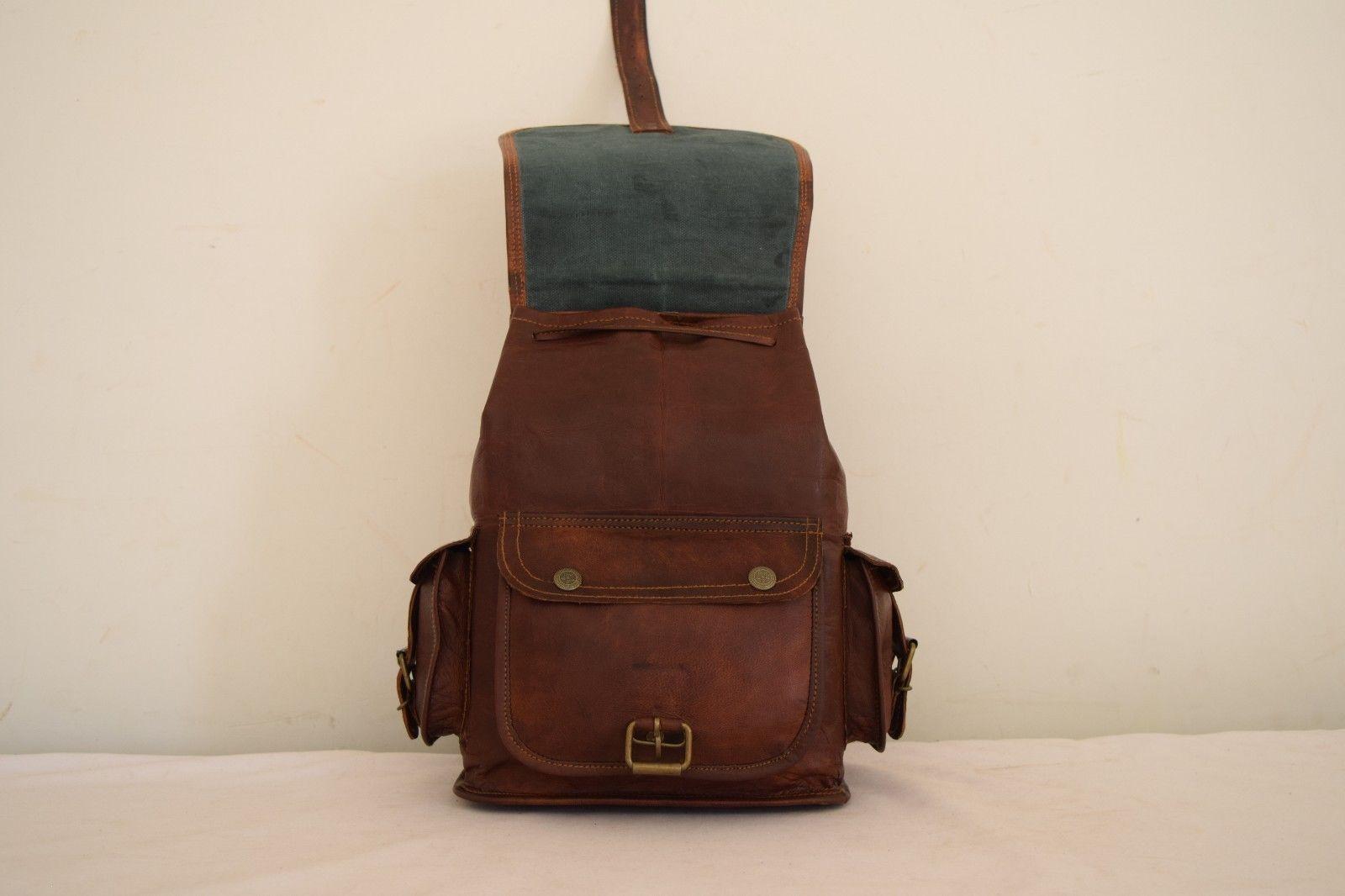 """11"""" High Handmade Real Brown Leather Backpack Shoulder Bag Rucksack Hiking Bag image 11"""