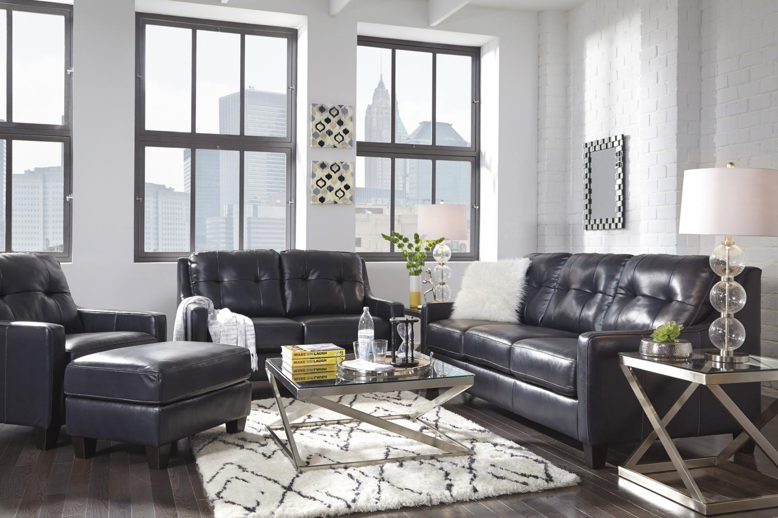 Ashley O'Kean Living Room Set 3pcs Authentic Leather Navy Contemporary