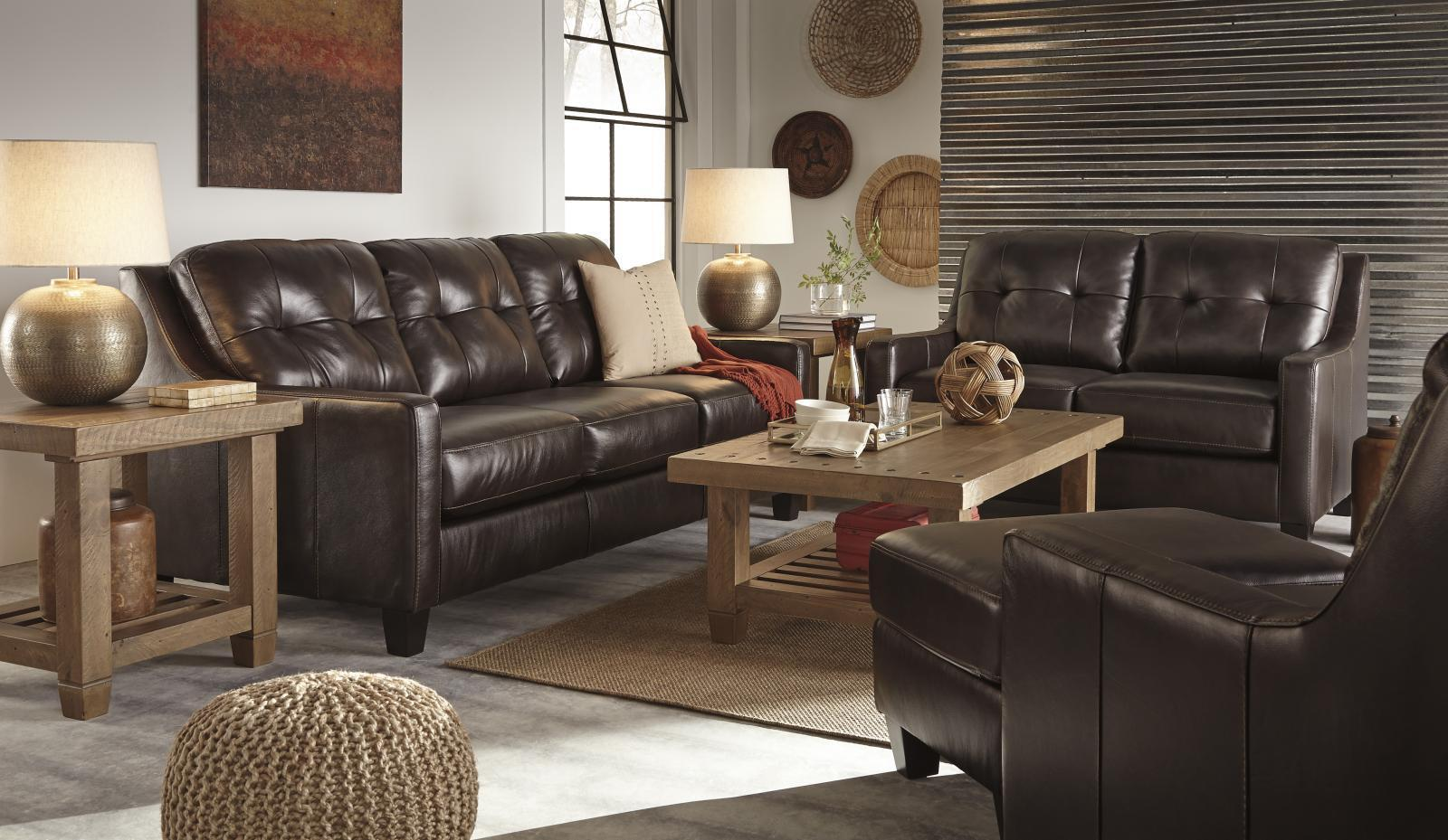 Ashley O'Kean Living Room Set 3pcs Authentic Leather Mahogany Contemporary