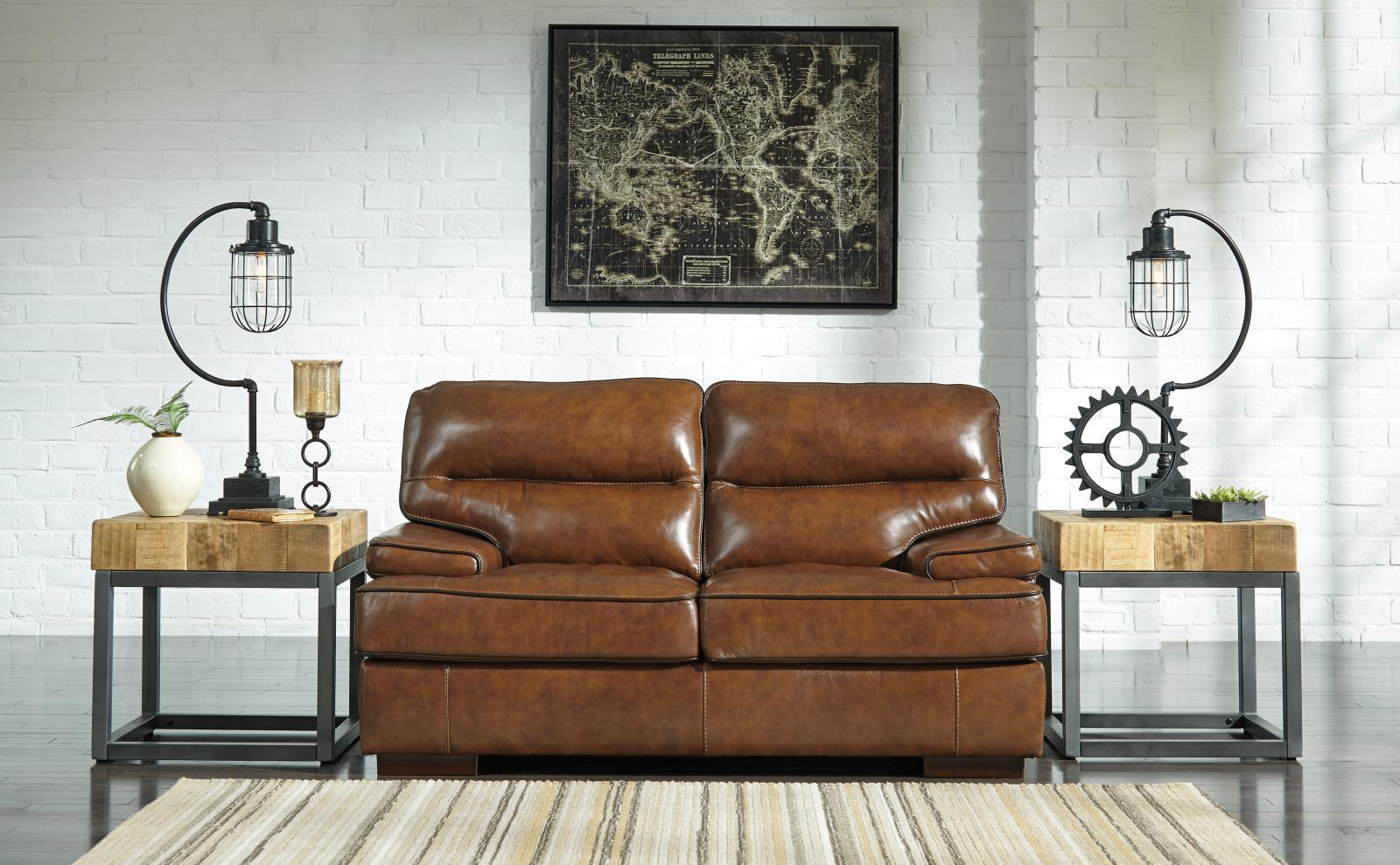 Ashley Palner Living Room Loveseat Topaz Leather Wearability Fabric Contemporary