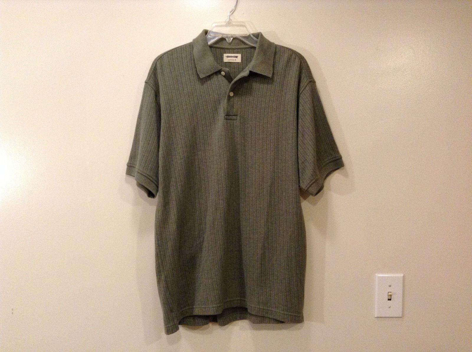 Arrow Khakis Men's Size M Polo Shirt Heather Dusty Olive Khaki Gray Ribbed Knit