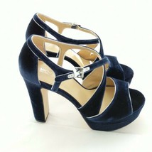 Michael Kors Womans Shoes Navy Blue Velvet Leather Size 10 M Platform 5 ... - $100.00