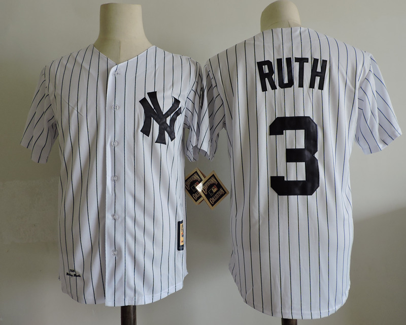 Babe Ruth New York Yankees Jersey White Size M-3XL Free Shipping! for sale  USA