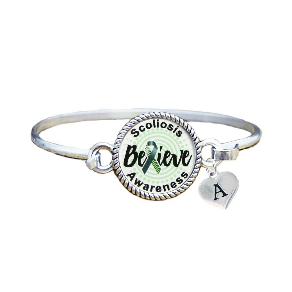 Primary image for Custom Scoliosis Awareness Believe Silver Bracelet Jewelry Choose Initial Family