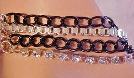 Bracelet Silver & Black Chain Rhinestone 4 Strands Biker Chic - $9.41
