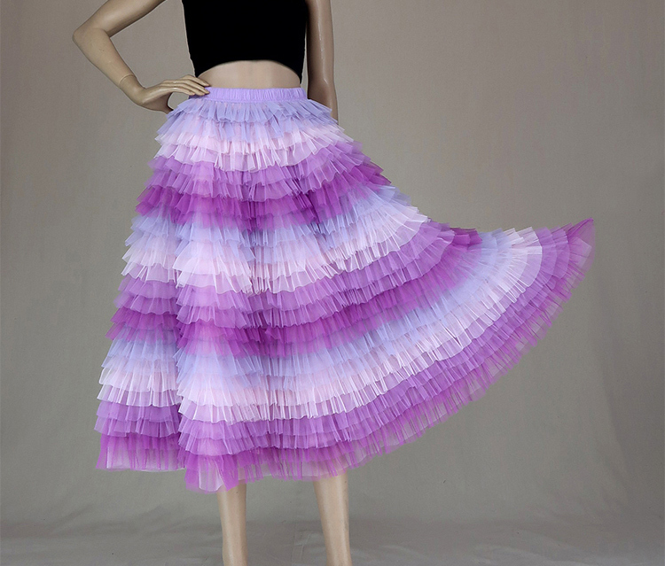 Tiered tulle midi skirt 6