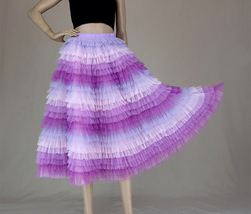 Hot Pink Purple Gray Purple Tiered Tulle Skirts Women Mesh Skirt Full Midi Skirt