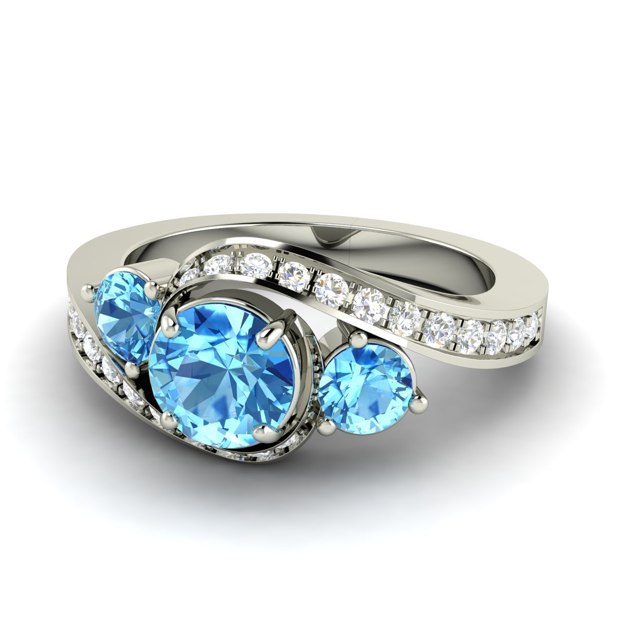 Blue Topaz Stone : Natural blue topaz side stone engagement ring with