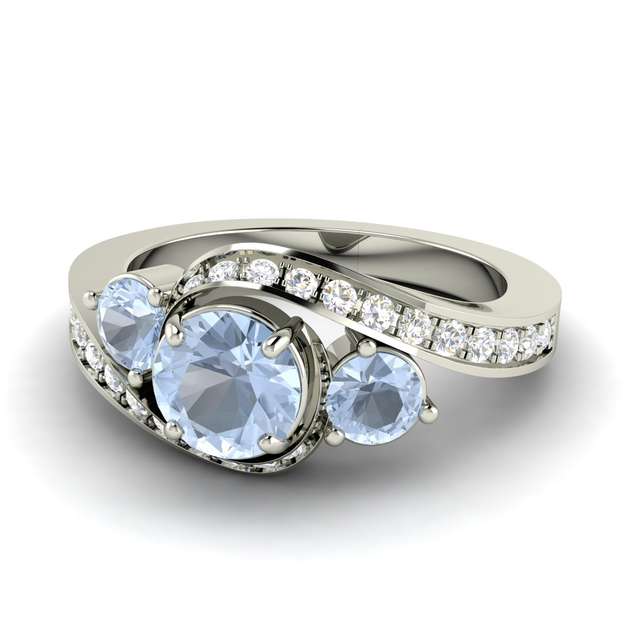 Natural Aquamarine Side-stone Engagement Ring With